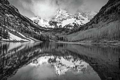 Photograph - Morning Light On Maroon Bells Peaks - Aspen Colorado - Monochrome Edition by Gregory Ballos