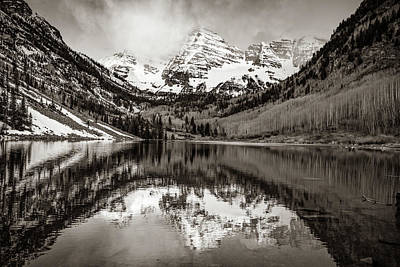 Photograph - Morning Light On Maroon Bells Peaks - Aspen Colorado - Sepia Edition by Gregory Ballos