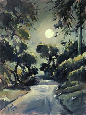 Painting - Morning Moon Loggos by Nop Briex