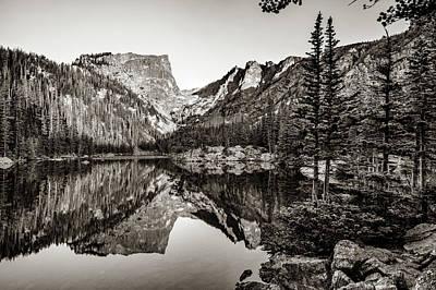 Photograph - Morning Mountain Landscape At Dream Lake - Estes Park Colorado - Sepia by Gregory Ballos