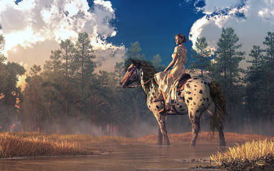 Digital Art - Morning Ride On An Appaloosa by Daniel Eskridge