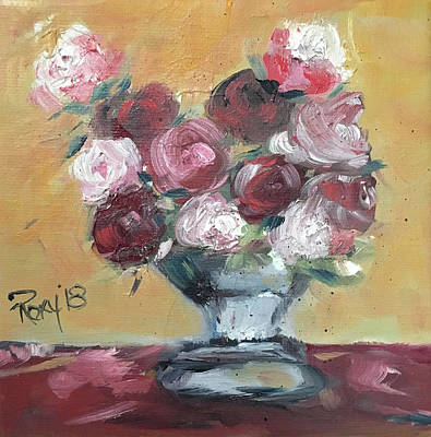Red Painting - Morning Roses by Roxy Rich