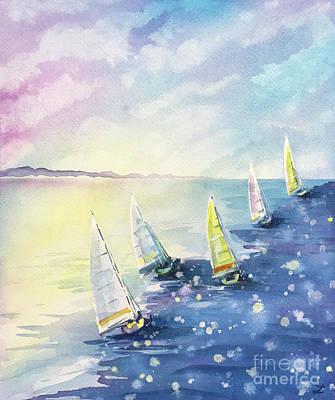 Sports Paintings - Morning Sails by Zaira Dzhaubaeva