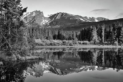 Landscapes Royalty-Free and Rights-Managed Images - Morning Stillness - Rocky Mountain Landscape at Sprague Lake - Monochrome by Gregory Ballos