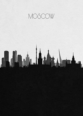 Moscow Skyline Wall Art - Digital Art - Moscow Cityscape Art by Inspirowl Design
