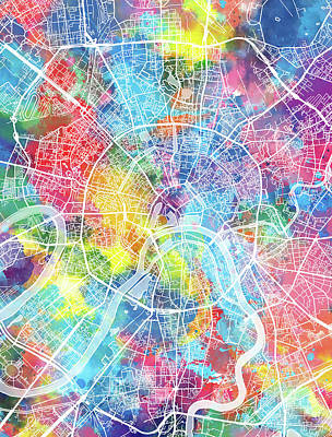 Moscow Wall Art - Digital Art - Moscow Map Watercolor by Bekim Art