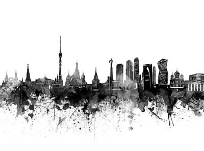Abstract Skyline Royalty-Free and Rights-Managed Images - Moscow Skyline Bw by Bekim M
