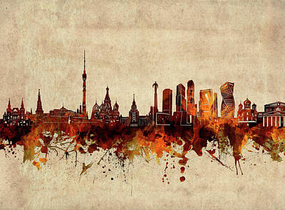 Abstract Skyline Royalty-Free and Rights-Managed Images - Moscow Skyline Sepia by Bekim M