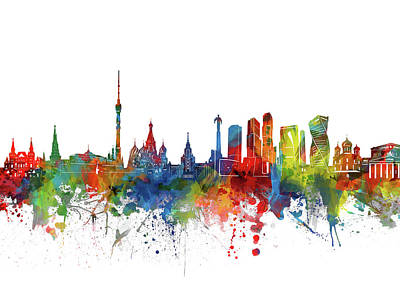 Abstract Skyline Royalty-Free and Rights-Managed Images - Moscow Skyline Watercolor 2 by Bekim M