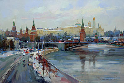 Painting - Moscow. Winter On Borovitsky Hill. by Alexey Shalaev