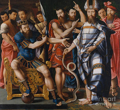 Painting - Moses And Aaron Before Pharaoh An Allegory Of The Dinteville Family, 1537 by Master of the Dinteville Allegory