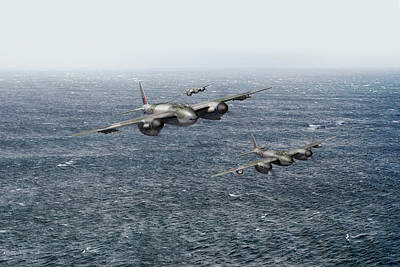 Photograph - Mosquito Fighter Bombers Over The North Sea by Gary Eason