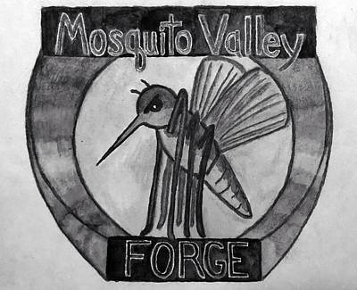 Drawings Royalty Free Images - Mosquito Valley Forge Logo Black And White Royalty-Free Image by Michael Panno