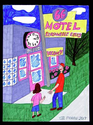 Drawing - Motel 66 by Barb Moran