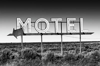Photograph - Motel Nowhere In Black And White by Mark Kiver