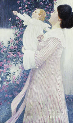 Painting - Mother And Child By Wilhelm List by Wilhelm List