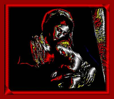 Digital Art - Mother And Child In Red by Mary Russell