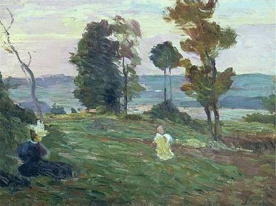 Mannequin Dresses Rights Managed Images - Mother and Child in the Fields Royalty-Free Image by Henri Lebasque