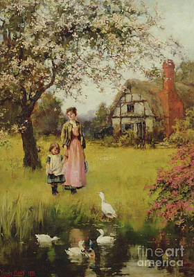 King John Wall Art - Painting - Mother And Child Watching The Ducks by Henry John Yeend King