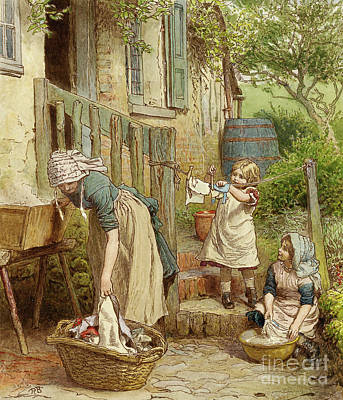 Painting - Mother And Children Hanging Out The Washing by Robert Barnes