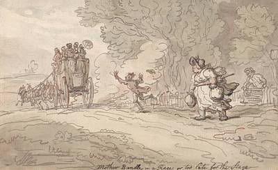 Drawing - Mother Bundle In A Rage Or Too Late For The Stage by Thomas Rowlandson