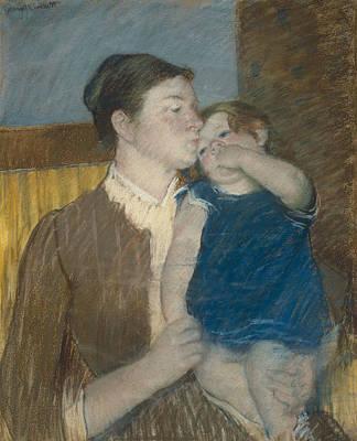 Pastel - Mother's Goodnight Kiss by Mary Cassatt