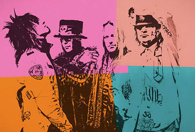 Mixed Media - Motley Crue Pop Art by Dan Sproul
