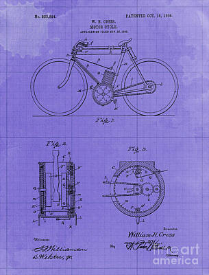 Royalty-Free and Rights-Managed Images - Motor Cycle Patent Year 1906  Old Artwork Motorcycle by Drawspots Illustrations