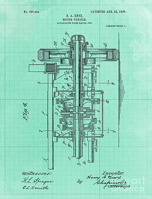 Royalty-Free and Rights-Managed Images - Motor Vehicle Patent 1905 Blueprint Green Background by Drawspots Illustrations