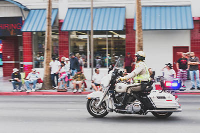 Photograph - Motorcycle Cop In Motion by SR Green