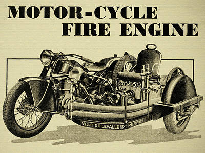 Photograph - Motorcycle Fire Engine - Ville De Levallois Perret by Sigital Reproductions