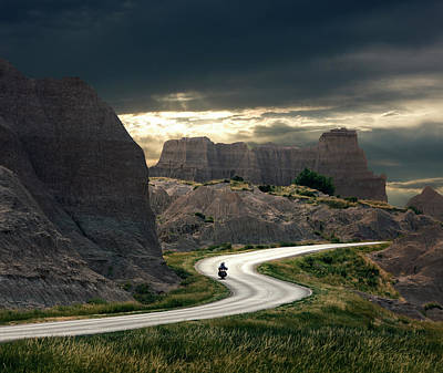 Photograph - Motorcyclist In Badlands National Park by Ed Freeman