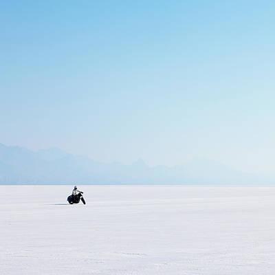 Photograph - Motorcyclist Riding On The Flat White by Mint Images - Paul Edmondson