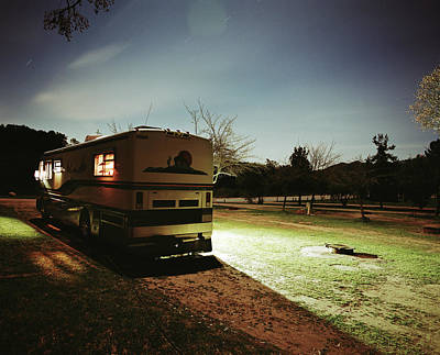 Ojai Wall Art - Photograph - Motorhome Parked In Campgrounds At Night by Jason Dewey