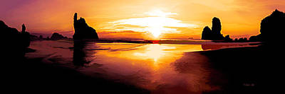 Photograph - Motukiekie Beach Pano In Greymouth West Coast New Zealand By Olena Art by OLena Art Brand