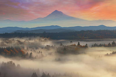 Wall Art - Photograph - Mount Hood Over Foggy Sandy River Valley Sunrise by David Gn