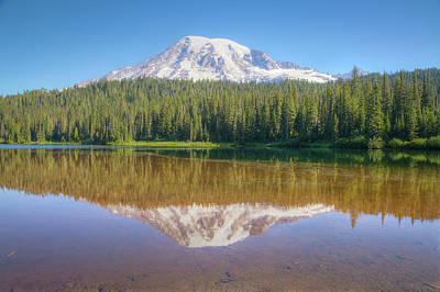 Firefighter Patents - Mount Rainier Reflection 00993 by Kristina Rinell