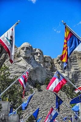 Politicians Royalty-Free and Rights-Managed Images - Mount Rushmore Avenue of Flags by Chance Kafka