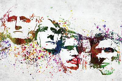 Politicians Digital Art - Mount Rushmore National Memorial colorful watercolor by Mihaela Pater