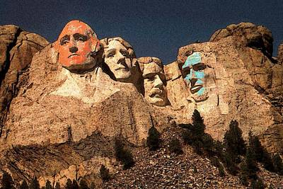 Mount Rushmore Red And Blue Drawing Art Print