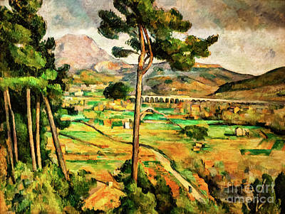 Painting - Mount Saint-victoire And The Viaduct Of The Arc River Valley by Paul Cezanne