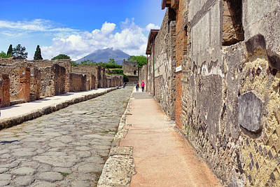 Robert Bellomy Royalty-Free and Rights-Managed Images - Mount Vesuvius and The Ruins of Pompeii Italy by Robert Bellomy