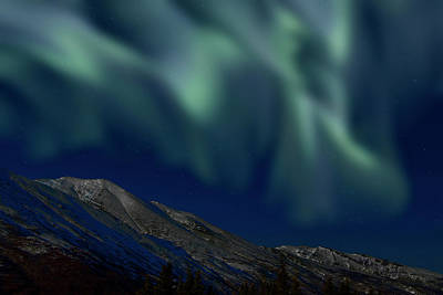 Photograph - Mountain & Northern Lights by Mark Newman