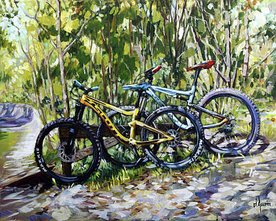 Sports Paintings - Mountain Bikes by Tom Dauria