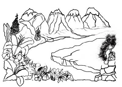 Drawing - Mountain Floral Scene Paint My Sketch by Delynn Addams