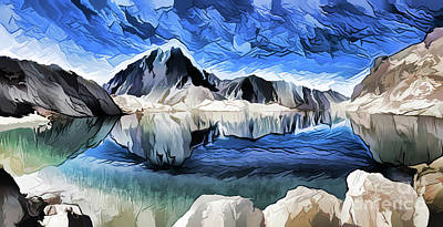 Painting - Mountain Lake A18-69 by Ray Shrewsberry