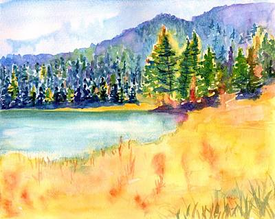 Painting - Mountain Lake Landscape by CarlinArt Watercolor