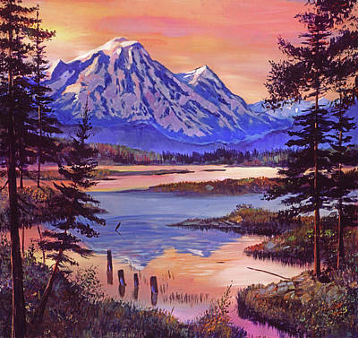 Painting - Mountain Lakeshore At First Light by David Lloyd Glover