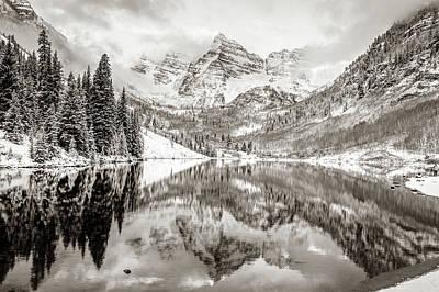 Photograph - Mountain Landscape Reflections Of Maroon Bells Colorado - Sepia by Gregory Ballos