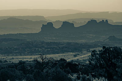 Photograph - Mountain Layers Of Moab Utah - Sepia by Gregory Ballos